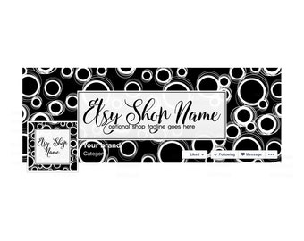 SALE 30% OFF Facebook Banner Sets Facebook Timeline Cover Facebook Cover - Black and White  Social Media Cover - Black 1-16