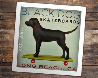 Custom FREE PERSONALIZATION Labrador Yellow Black Brown Longboards Skateboards  -  Archival Giclee Print  Signed