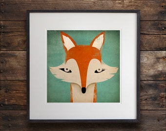 Mister Fox Graphic ART Illustration print SIGNED by Ryan Fowler Vulpes Vulpes UNFRAMED.
