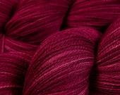 Hand Dyed Lace Yarn - Lace Weight Superwash Merino Wool Yarn - Plumberry Semi-Solid - Knitting Yarn, Lace Yarn, Tonal Red Violet