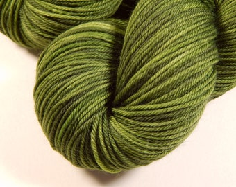 Hand Dyed Yarn - Sport Weight Superwash Merino Wool Yarn - Custom Green - Knitting Yarn, Sock Yarn, Sport Yarn, Moss Olive Green