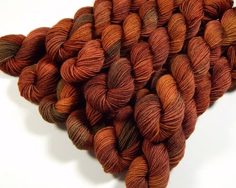 Mini Skeins - Hand Dyed Yarn - Sock Weight 4 Ply Superwash Merino Wool Yarn - Spice - Knitting Yarn, Sock Yarn, Rust Orange Autumn Fingering