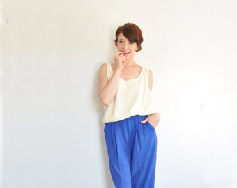 neutral knit St. John tank top . bone ivory high fashion blouse .extra large.xl .sale