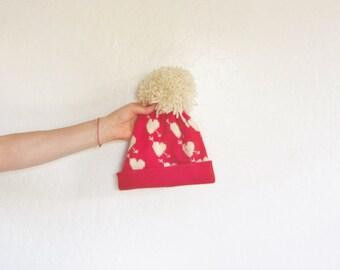 HEART BREAKER beanie hat . red cream cupid arrows cap . pom pom top