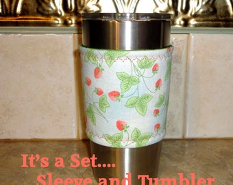 Cozy Cup Sleeve in Fabric Includes the 20 ounce Stainless Steel Tumbler