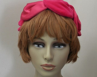 Vintage Dark Rose Satin and Velour Petal Half Hat