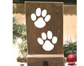 Stocking holder, reclaimed wood, pet stocking holder,  mantle stocking, rustic Christmas, white stockings, dog stocking holder, paw print
