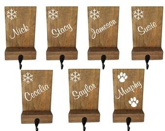 Stocking holder, reclaimed wood, personalized, mantle decor, rustic Christmas, stocking hook, name stocking,  pet stocking hanger