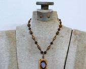 1930s art deco brass filigree beaded necklace / 30s vintage purple glass stone pendant necklace