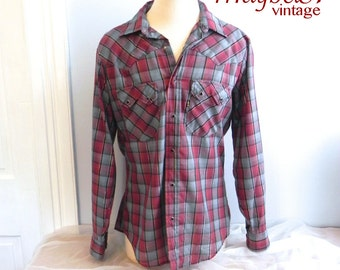 Vintage Western Shirt ,Men's 50s style Check Cowboy Shirt with Silver Thread M L