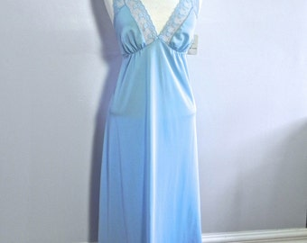 Vintage Dead Stock Long Blue Night Gown , 1960s Blue Nighty with Tags Med Lg - on sale