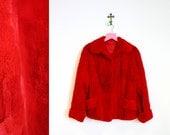 RESERVE FOR KAREN until 9-5 Vintage 1980s Red Faux Fur Coat Size M-L
