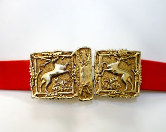 Vintage 1980s Gold Reindeer Christmas Belt Buckle with Red and Green Belt Straps