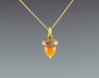 Art Glass Acorn Necklace