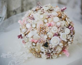 Pink bouquet, button bouquet, vintage bouquet, bridal bouquet, wedding flowers, vintage buttons, button posy, crystal bouquet