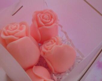 5 pink rose buds soap,  glycerin roses, wedding soap favors, garden party soap favors, floral soap, flower soap, summer soap