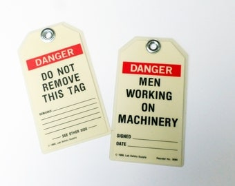 Vintage Men Working Tag, Men Working on Machinery, Danger Do Not Remove Tag, Plastic Hang Tags, Man Cave Decor, Handyman Gift, Mixed Media