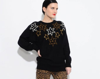 ON SALE 80s Black Beaded Sweater STARS Novelty Sweater Acrylic Knit Pullover Jumper Gold Silver S M