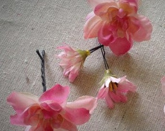 Pink flower bohemian hair pins, set of 5 floral bobby pins, flower hair accessory