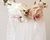 Blush pink flower crown, flower crown veil, bridal headpiece, dusty pink floral crown, woodland wedding, circlet, wedding hair accessories