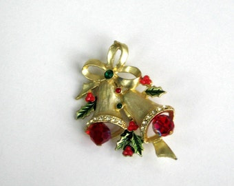 Rhinestone Christmas Bells Brooch Pin Vintage Holiday Jewelry