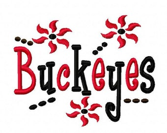 Buckeyes Machine Embroidery Design 4x4 7x5 10x6 University Team Instant Download Basketball Football Baseball Soccer Sports baby little boy