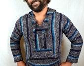 Vintage 1980s Striped Pullover Baja Drug Rug Hoodie Pullover