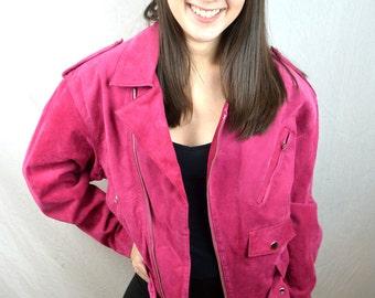 Amazing Vintage 80s Pink Suede Jacket Coat