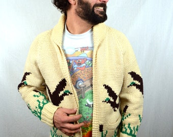 Vintage 1960s Cowichan Novelty Cardigan Wool Sweater - Duck - Mary Maxim