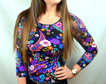 Vintage Psychedelic 1970s 70s Blouse Top - by Lebois