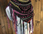 Reflective Eclectic Fringe Crochet Triangle Scarf - CASSIAR