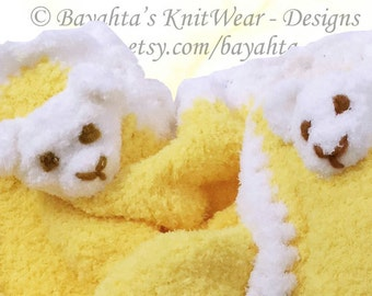 Baby Blanket Pillow Hand Knit Yellow White Infant Boy Girl Blanket by Bayahta