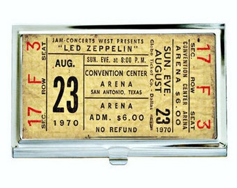 Led Zeppelin 1 Vintage Concert Ticket Business Card Case, Sublimation, Permanent Image, Silver Tone Finish, Black Velvet Lining, Customize