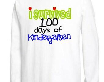 100th day of kindergarten shirt, Teacher 100 days of school shirt, I survived 100 days, humorous school shirt, 100th day adult shirt