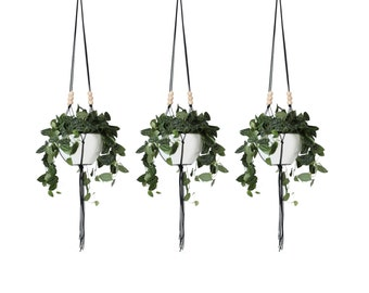 Set of 3 - LINEA .01 - Large Modern Macrame Hanging Planter without bowl - MORE COLORS