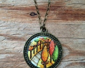 Fox in Fall Forest Necklace - Original Watercolor Hand Painted Pendant, Rustic Woodland