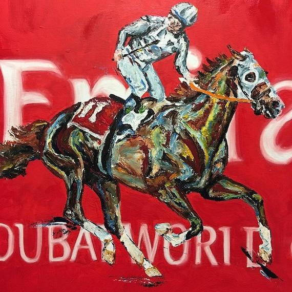 California Chrome Horse-racing Dubai Print with Mat