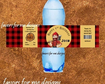 20 Lumberjack Themed Water Bottle Wrappers