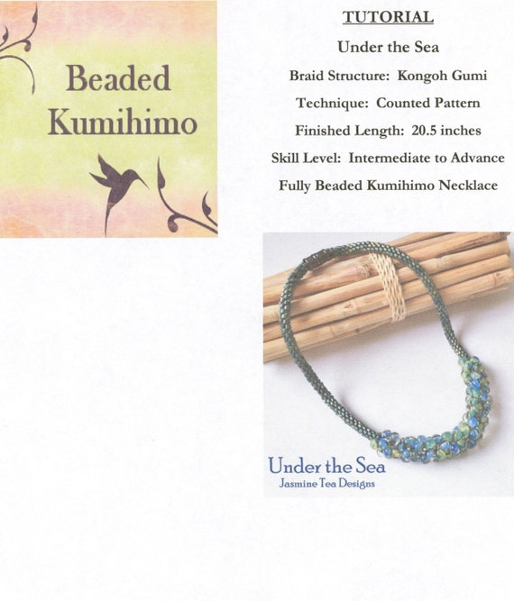 Under the Sea Fully Beaded Kumihimo Necklace, Bead Placement and Supplier Information Only