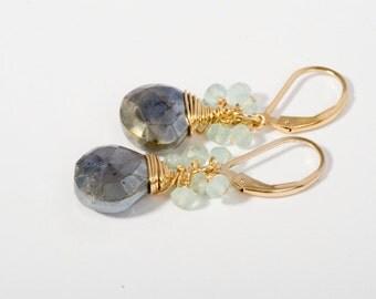 Gold Cluster Earrings, Gemstone Cluster Earrings, Summer Jewelry, Spring Jewelry, Mint Jewelry, Gold Jewelry, Fine Jewelry, Gemstone Earring