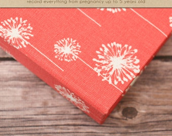 Baby  Book (Pregnancy - 5 Years) - Coral Dandelion (136 designed journaling pages & personalization included with album)