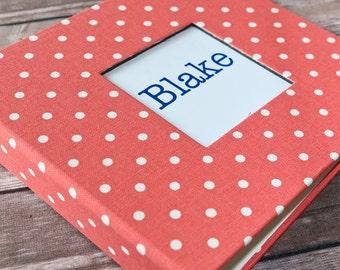 Baby Book, Baby Gift, Baby Album, Baby Memory Book, Baby Keepsake, Modern Baby Book, Coral Polka Dot Album