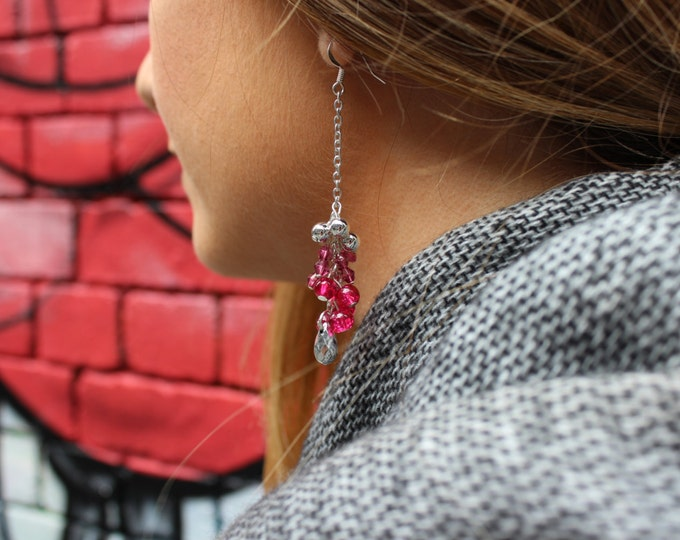 Silver, Purple and Pink Dip Dyed Cluster Dangle Earrings.