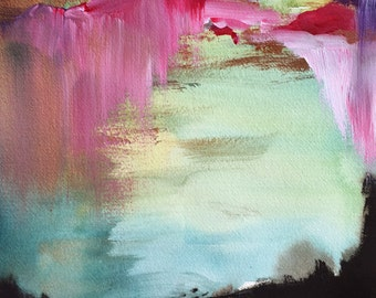Large Painting - Landscape Painting Print - For Me - Large 24x30 Print - Poster - Wall Decor - Abstract - Bright - Colorful - Magenta - Mint