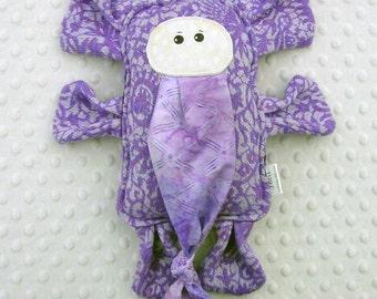 Elephant Pillow Plush - Girasol Avalon Herringbone - Wrap Scrap Stuffed Elephant