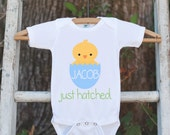 Boy Easter Outfit - Custom Newborn Infant Onepiece - Boys Just Hatched Outfit - Boys Baby Chick Easter Bodysuit - Kids First Spring Outfit