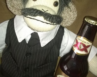 Dos Equis Sock Monkey Doll ~ Stay Thirsty my Friends !  FREE SHIPPING