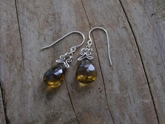 Honey brown earrngs - Drop dangle earrings - Chandelier earrings - Sterling silver drop earrings - Elf fantasy dangle earrings