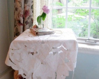 Tablecloth, Tape Work, Battenburg Lace, Small, Square, White,  Cottage Charm, Shabby French, Romantic, by mailordervintage on etsy