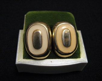 Vintage Gold Tone and Cream Enameled Oval Square Clip Earrings